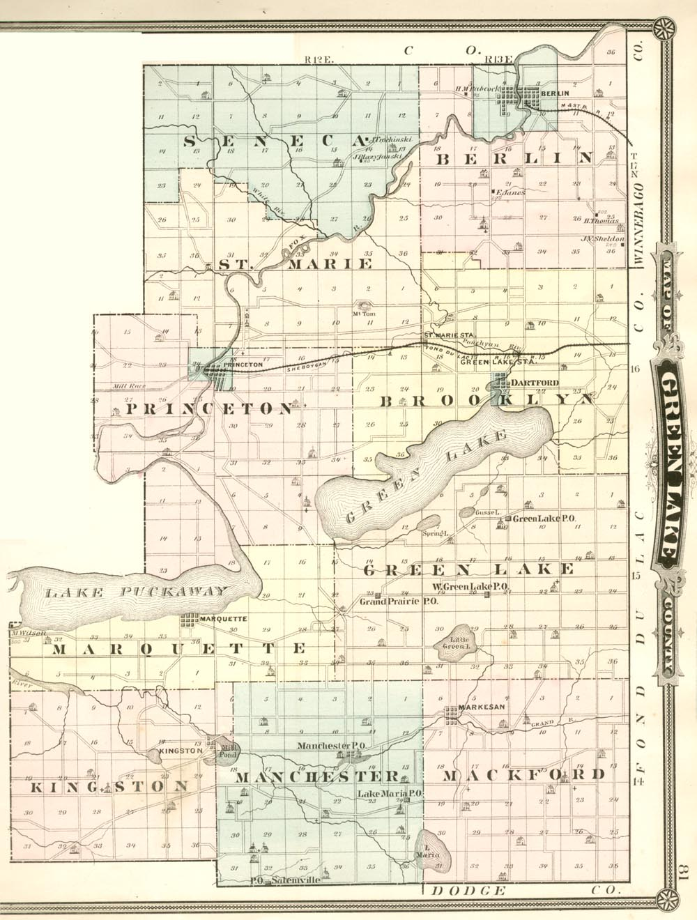 Green Lake County Wisconsin History 1878